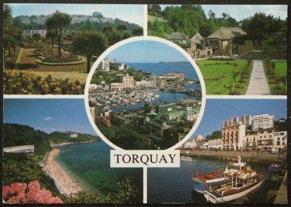 画像1: イギリス 消印1988 アンティークポストカード TORQUAY トーキー イングランド (1)