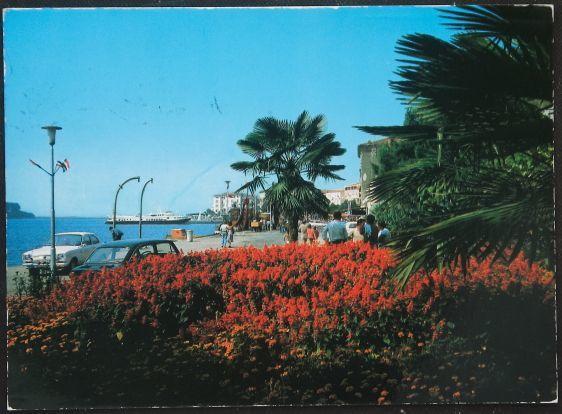 画像1: イギリス 消印1989 アンティークポストカード 港と赤い花 (1)