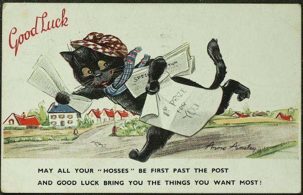 画像1: イギリス 1934年 アンティークポストカード Good Luck 新聞配達する黒猫 (1)